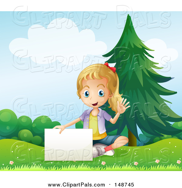 Clipart of a Blond Girl Waving and Sitting with a Sign in a Park