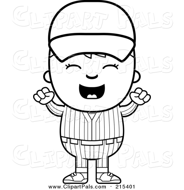 Clipart of a Happy Baseball Kid Cheering - White and Black Outline