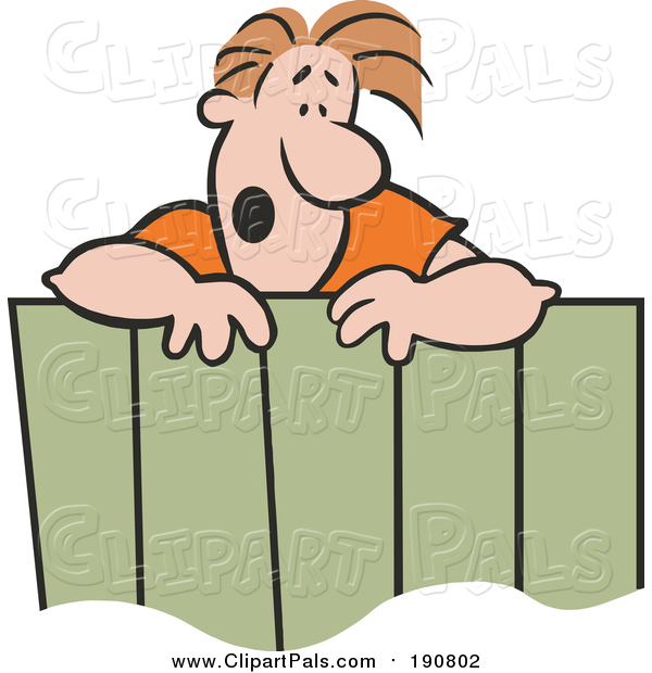 Clipart of a Male Neighbor Talking over a Wooden Fence - Cartoon Style