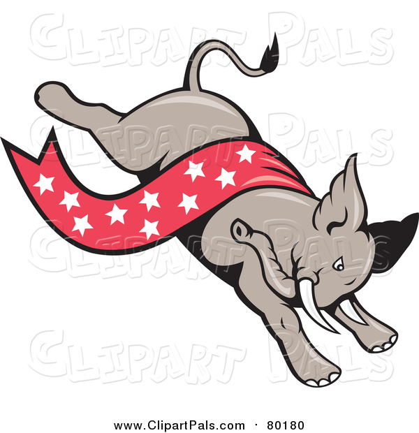 Clipart of a Republican Elephant with a Star Banner
