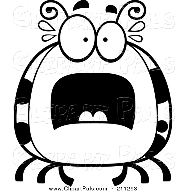 Clipart of a Scared Ladybug - White and Black Cartoon Version