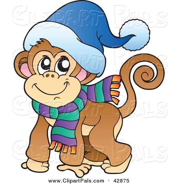 Clipart of a Smiling Warm Monkey Ready for Cold, Winter Weather - Cartoon Style