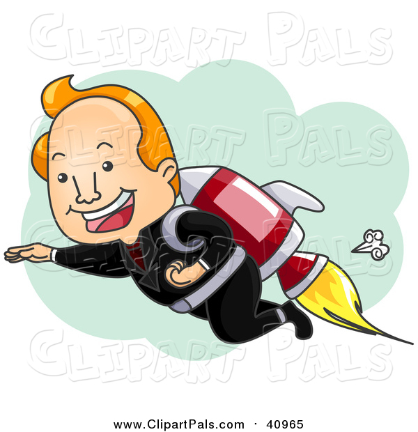Clipart of a Successful Businessman Flying with Rocket Pack - Cartoon Style