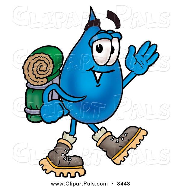 Clipart of a Water Drop Hiking and Carrying a Backpack