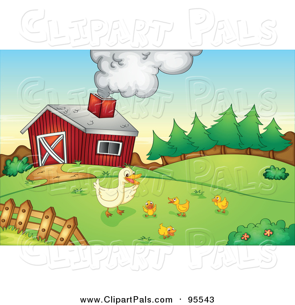 Clipart of Chicks and a Duck on a Farm