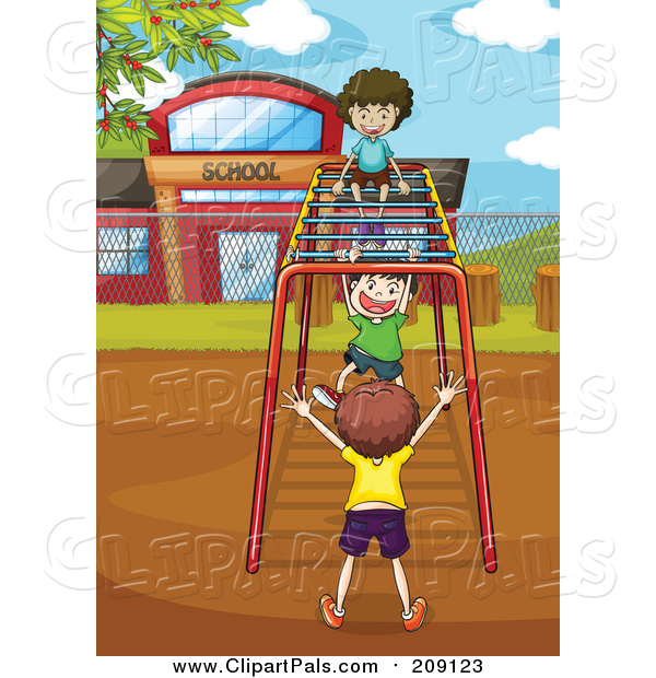 Clipart of Children Playing on Playground Monkey Bars at Recess