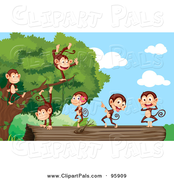 Clipart of Cute Monkeys Dancing Dead Tree on the Ground - Cartoon Style