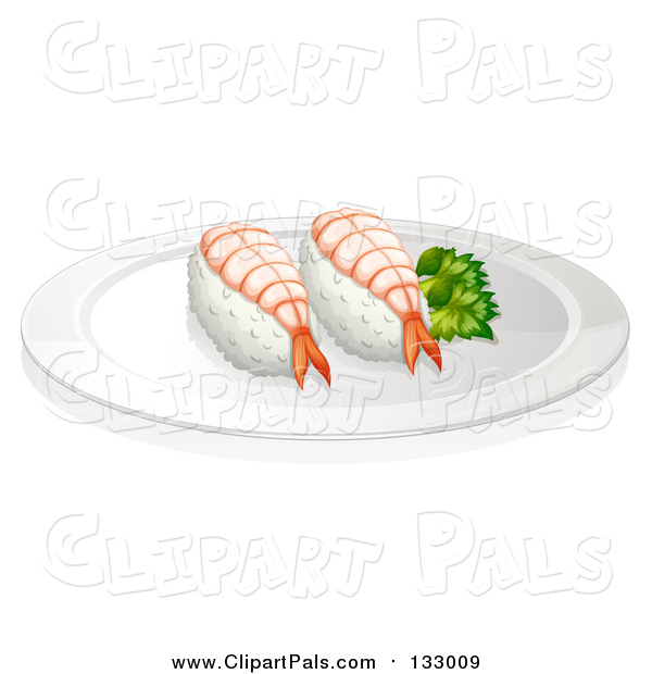 Clipart of Sushi Shrimp on Plate with Decorative Green Plant