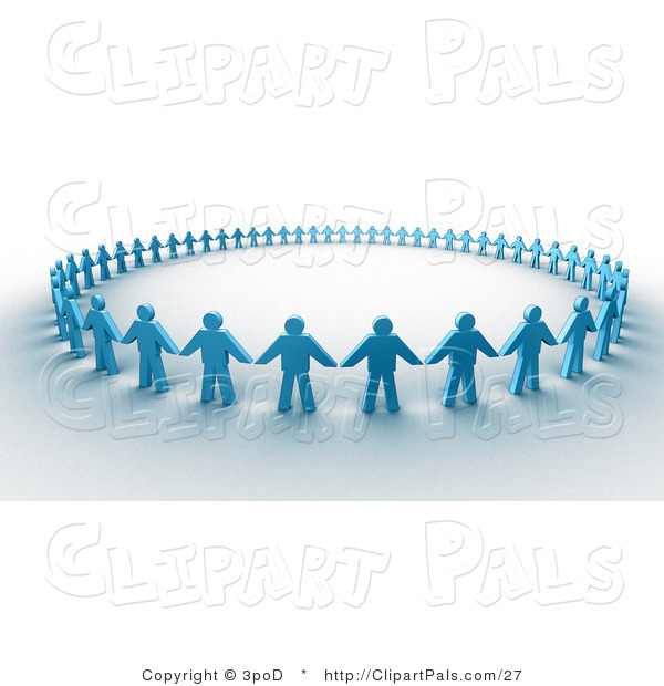 Pal Clipart of 3d Paper People Holding Hands in a Circle
