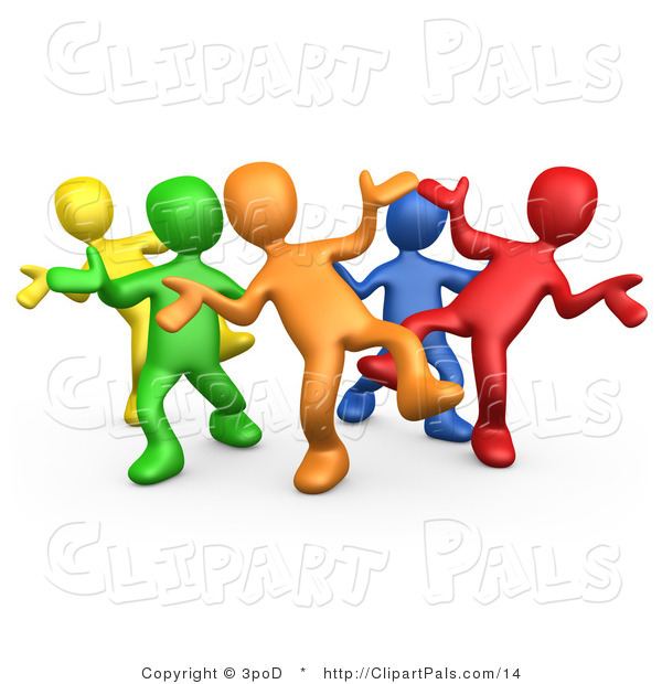 Pal Clipart of a 3d Diverse Colorful People Dancing at a Party