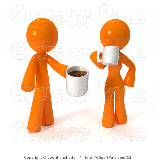 Pal Clipart of a 3d Orange Couple Drinking Coffee