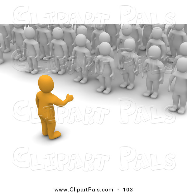 Pal Clipart of a 3d Orange Man Speaking to a Crowd of Blanco Men