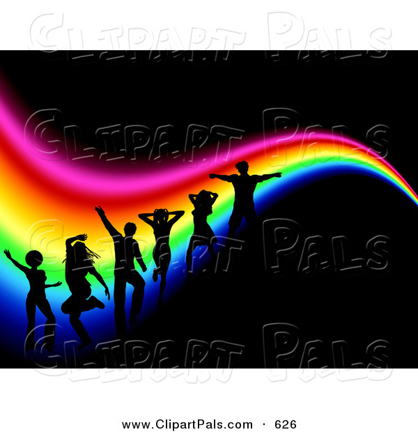 Pal Clipart of a Background of Silhouetted Dancers in a Club over a Wavy Rainbow on Black