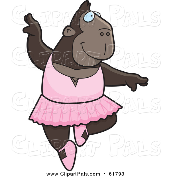 Pal Clipart of a Ballerina Ape Dancer