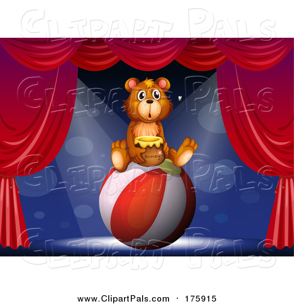Pal Clipart of a Bear Sitting on a Ball and Holding a Honey Jar