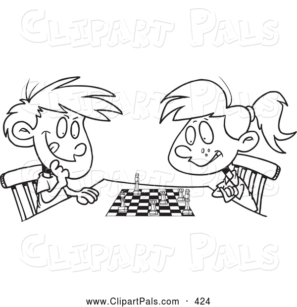 Pal Clipart of a Black and White Boy and Girl Playing Chess
