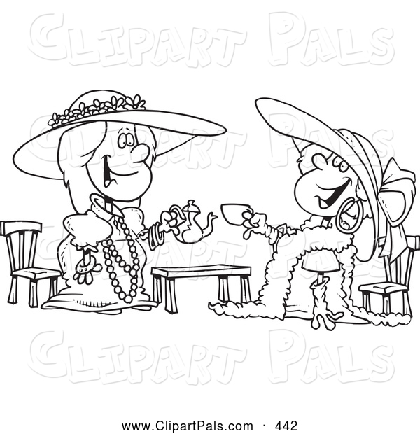 Pal Clipart of a Black and White Coloring Page Outline Design of Happy Girls Playing Dress up at Tea Time