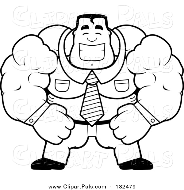 Pal Clipart of a Black and White Lineart Brute Muscular Businessman Smiling