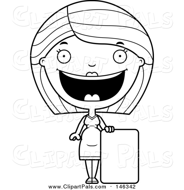 Pal Clipart of a Black and White Lineart Happy Pregnant Woman by a Sign
