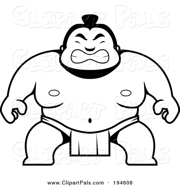 Pal Clipart of a Black and White Lineart Sumo Guy Crouching