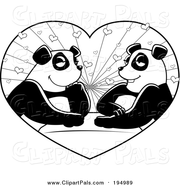 Pal Clipart of a Black and White Panda Couple in a Heart