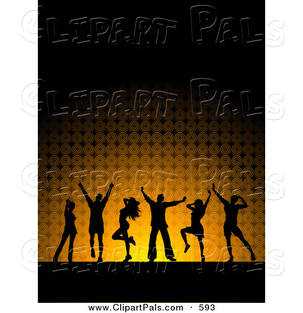 Pal Clipart of a Black Silhouetted Dancers over Glowing Orange and Black
