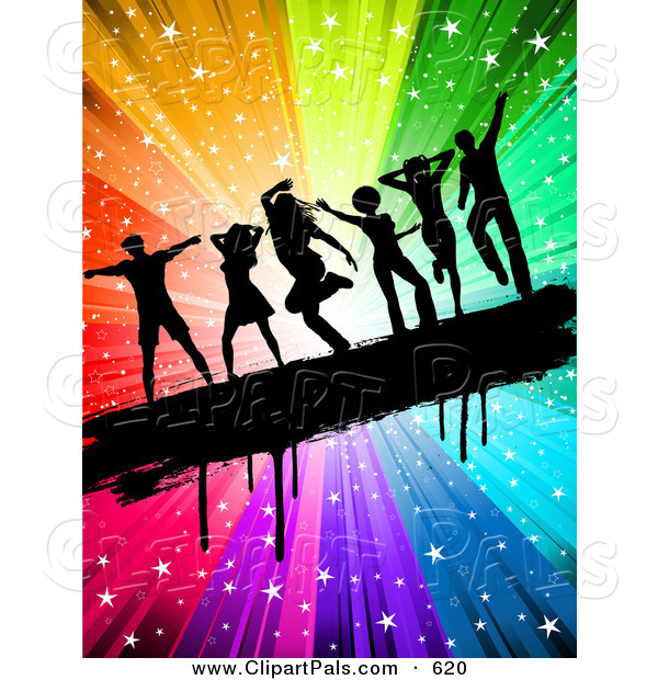 Pal Clipart of a Black Silhouetted People Dancing on a Grungy Bar over a Rainbow Swirling Starry Burst