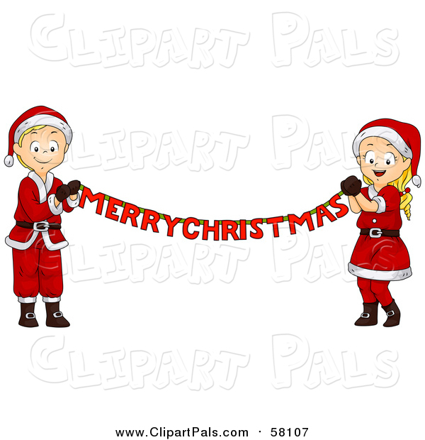 Pal Clipart of a Blond White Christmas Boy and Girl Holding a Merry Christmas Banner