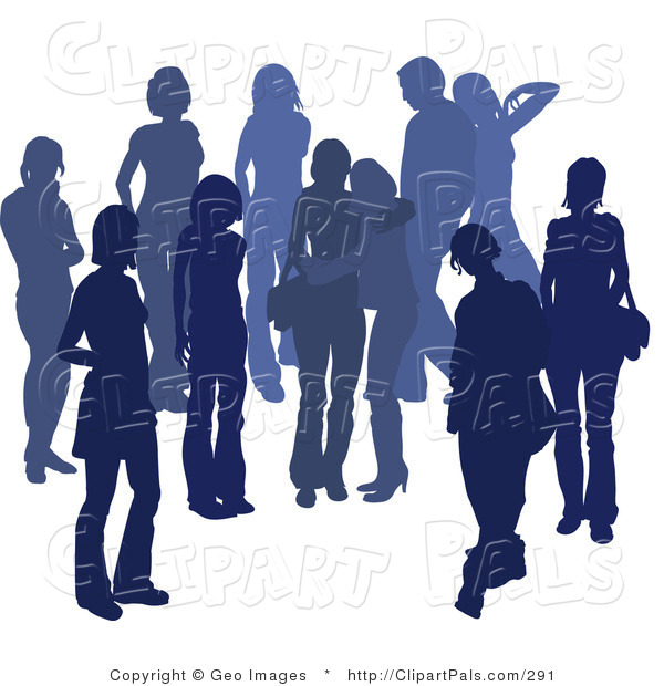 Pal Clipart of a Blue Group of Silhouetted People Hanging out in a Crowd Together, Two Friends Embracing in the Middle