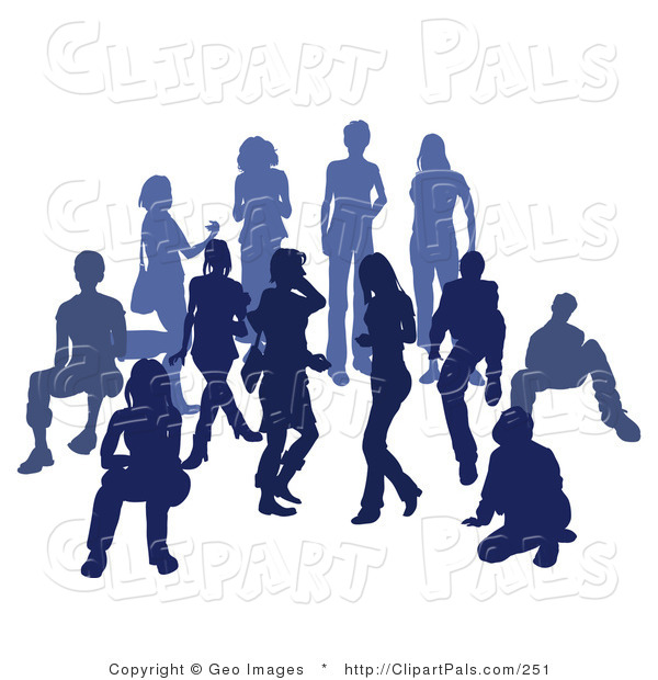 Pal Clipart of a Blue Group of Silhouetted People Standing Together in a Crowd