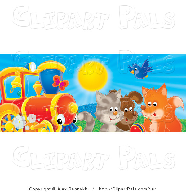 Pal Clipart of a Bluebird, Fox, Dog and Cat Playing with a Ball near a Red and White Train on a Sunny Day