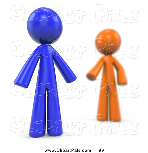 Pal Clipart of a Blurred 3d Orange Factor Man Reaching for a Blue Man on White