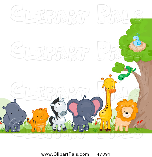 Pal Clipart of a Border of Zoo Animals by a Tree