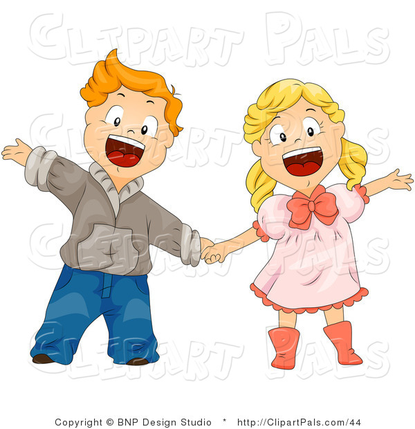 Pal Clipart of a Boy and Girl Shouting and Holding Hands