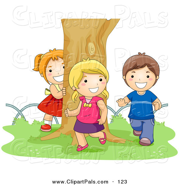 Pal Clipart of a Boy and Two Girls Chasing Each Other Around a Tree