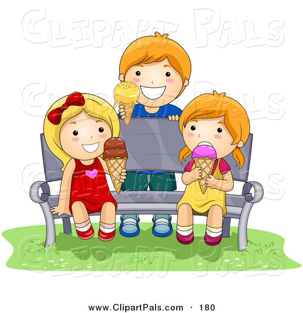 Pal Clipart of a Boy and Two Girls Eating Ice Cream While Sitting on a Bench