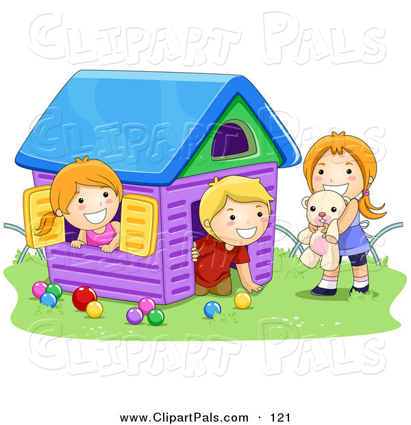 Pal Clipart of a Boy and Two Girls Playing in a Toy House on Grass