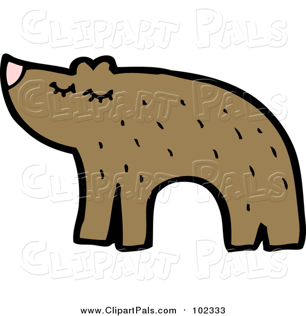 Pal Clipart of a Brown Bear Facing Left