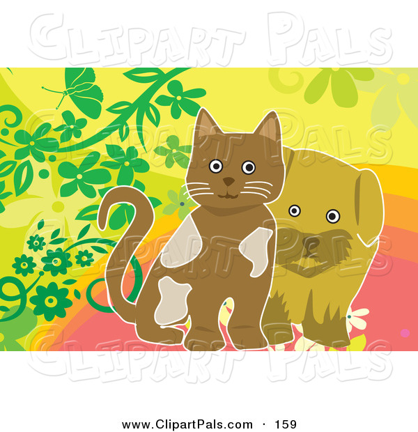 Pal Clipart of a Brown Dog and Kitten on a Floral Background