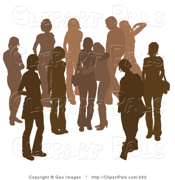 Pal Clipart of a Brown Group of Silhouetted People Hanging out in a Crowd, Two Friends Hugging in the Middle