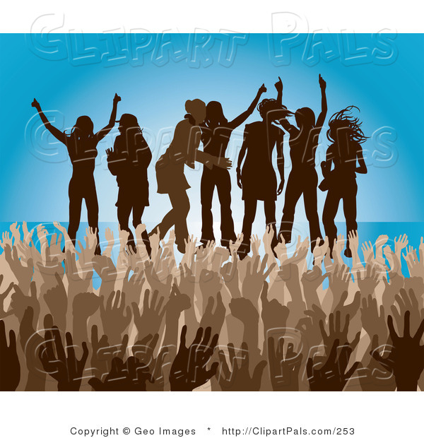 Pal Clipart of a Brown Group of Silhouetted Women Raising Their Arms and Dancing on Stage at a Concert