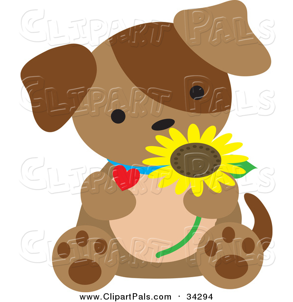 Pal Clipart of a Brown Puppy Sitting with a Daisy and Heart