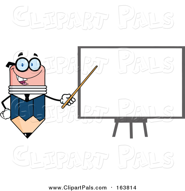 Pal Clipart of a Business Pencil Mascot Pointing to a White Board