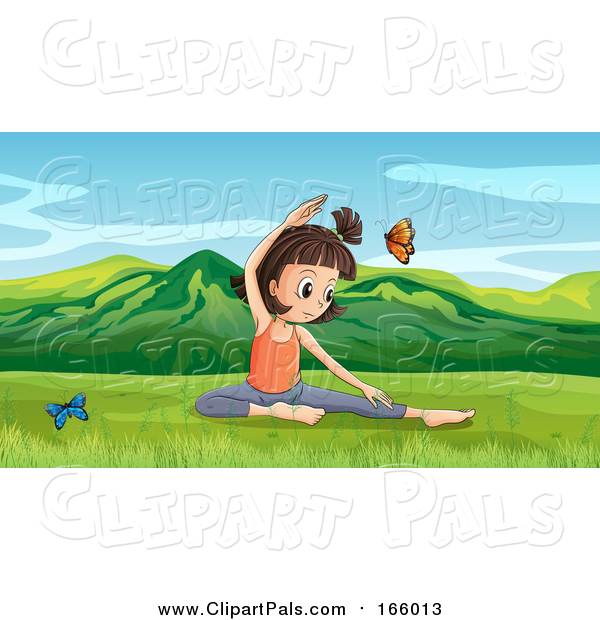 Pal Clipart of a Butterflies Around a Girl Doing Yoga in a Spring Valley
