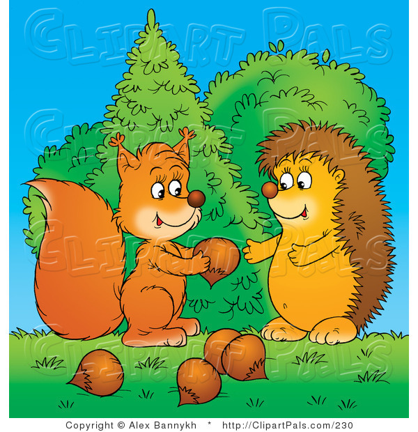 Pal Clipart of a Caring Squirrel Sharing Acorns with a Hedgehog in the Forest