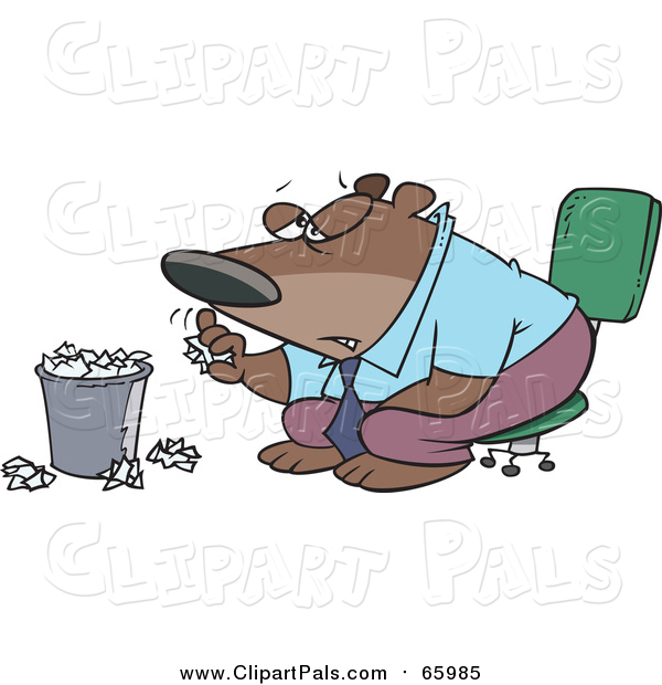 Pal Clipart of a Cartoon Bored Business Bear Tossing Paper in the Trash