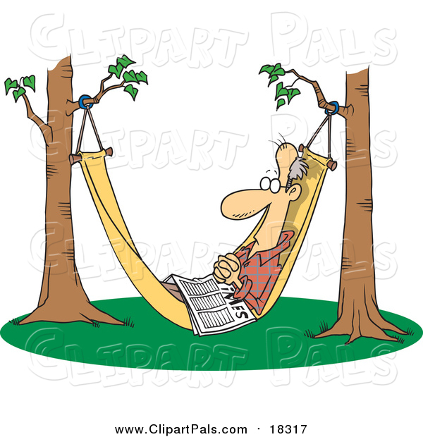 Pal Clipart of a Cartoon Retired White Man Napping in a Hammock with a Newspaper