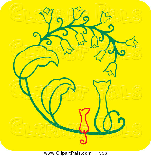 Pal Clipart of a Cat and Mouse Sitting Side by Side and Watching Flowers on Yellow