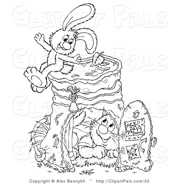 Pal Clipart of a Cat and Rabbit Hanging out by a Pail
