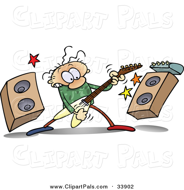 Pal Clipart of a Caucasian Guy Rocking out with a Guitar by Speakers